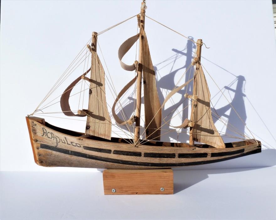 Vintage Hand Crafted Ship  MODEL SAILBOAT  Souvenir of RECUERDO DE ACAPULCO