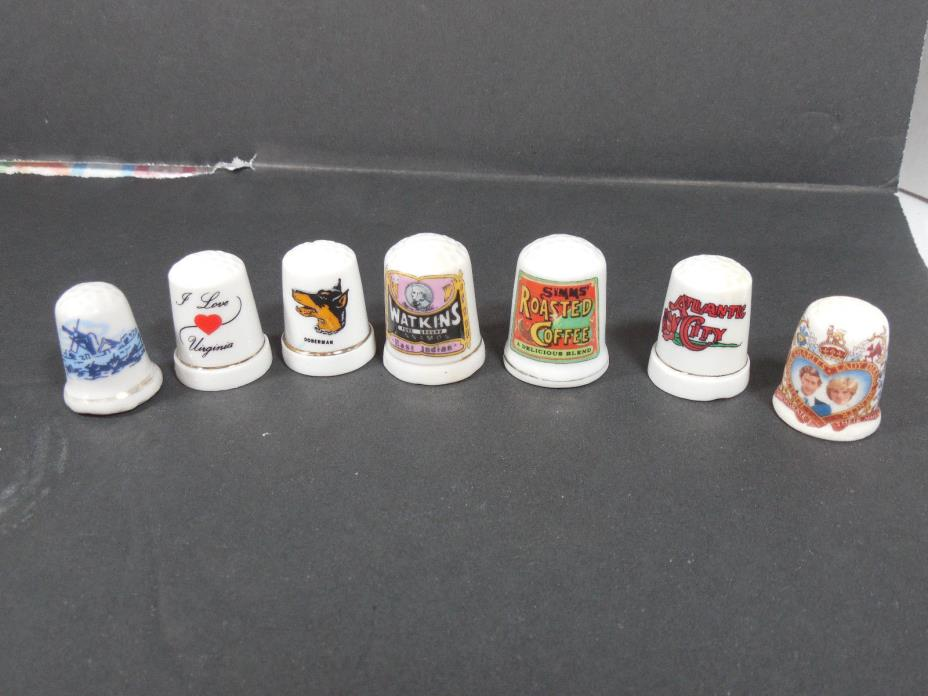 VINTAGE MIXED LOT 7 CERAMIC THIMBLES RETRO DECOR SEWING COLLECTIBLES
