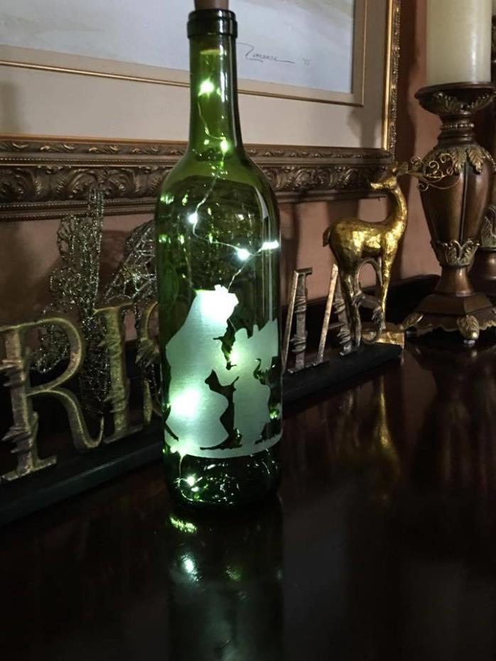 Alice in Wonderland- Hand Etched Wine bottles with fairy lights