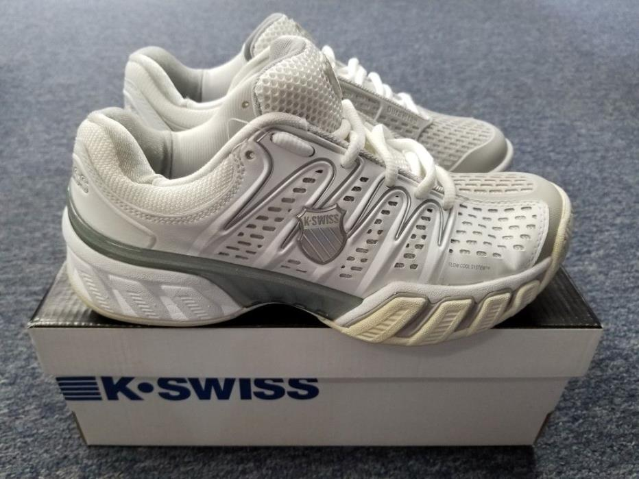 Women's K Swiss Big Shot II Tennis Shoes Whit/Gull Gray Size 6.5 NEW