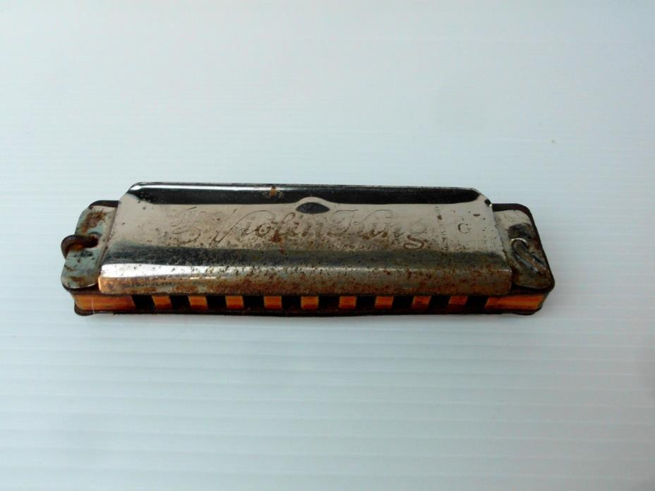 violin king vintage harmonica F A BOHM G made in Germany Used but works