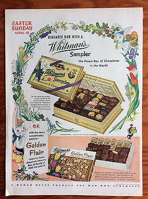 1954 WHITMAN'S SAMPLER, EASTER CHOCOLATES Print Ad
