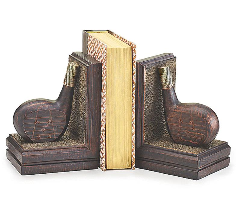 Golf Club Bookends Heavy Brown Resin Den Office Golfer Gift Decor burton+BURTON