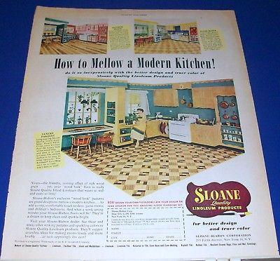 1950 SLOAN Linoleum floor vintage kitchen print Ad