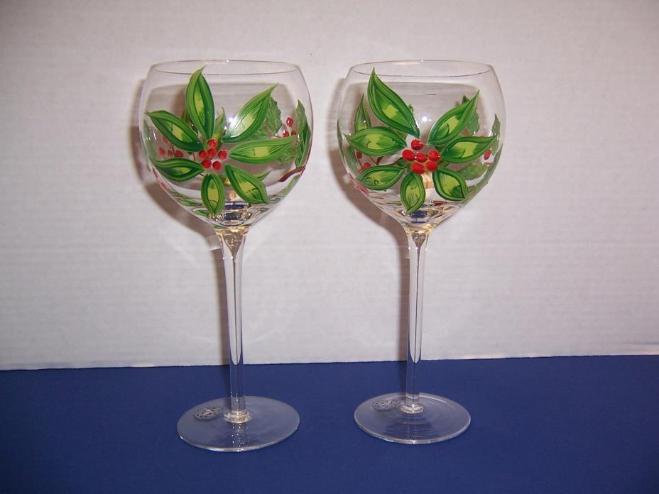 Block Basics 2 Poinsettia Balloon Goblets (14 oz) Christmas Holiday Wine Water