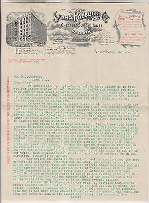 1902 SEARS ROEBUCK AND COMPANY LETTER REGARDING BICYCLE CATALOGUE - CHICAGO