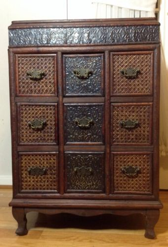 Beautiful Vintage Hand Made Bamboo Wood Copper Chest or Nightstand With 9 Drawer