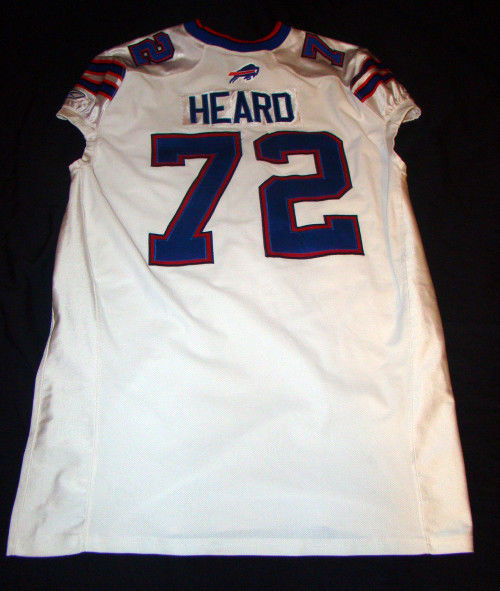 KELLEN HEARD 72 BUFFALO BILLS GAME USED 2011 REEBOK NFL FOOTBALL JERSEY SIZE 52