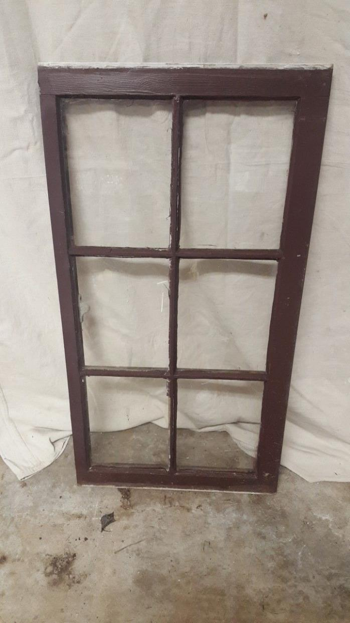 VINTAGE WOOD WINDOW 6 PANE WALL DECOR CHIPPY WEDDING BARN OLD RUSTIC STAINED.