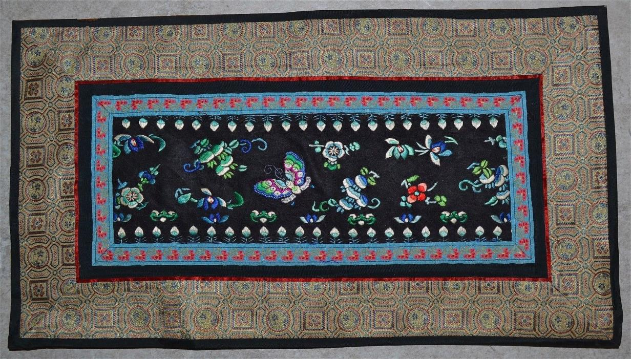 Antique Chinese Silk Embroidery Panel Butterflies Bats Flowers Textile