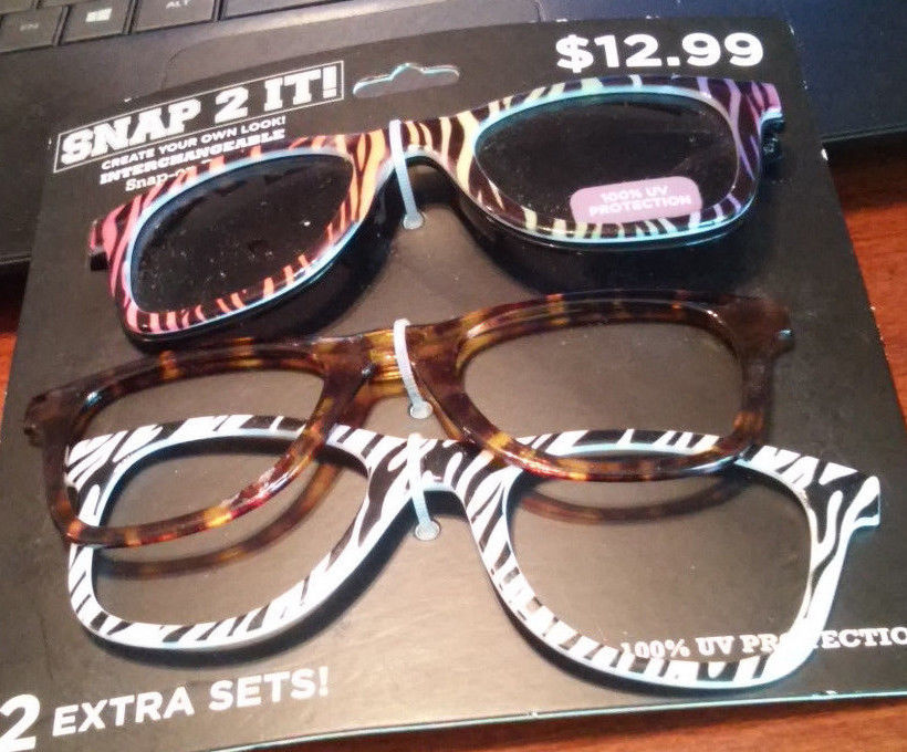 INTERCHANGEABLE SNAP-ON FRONTS SUN GLASSES 3 FRAMES