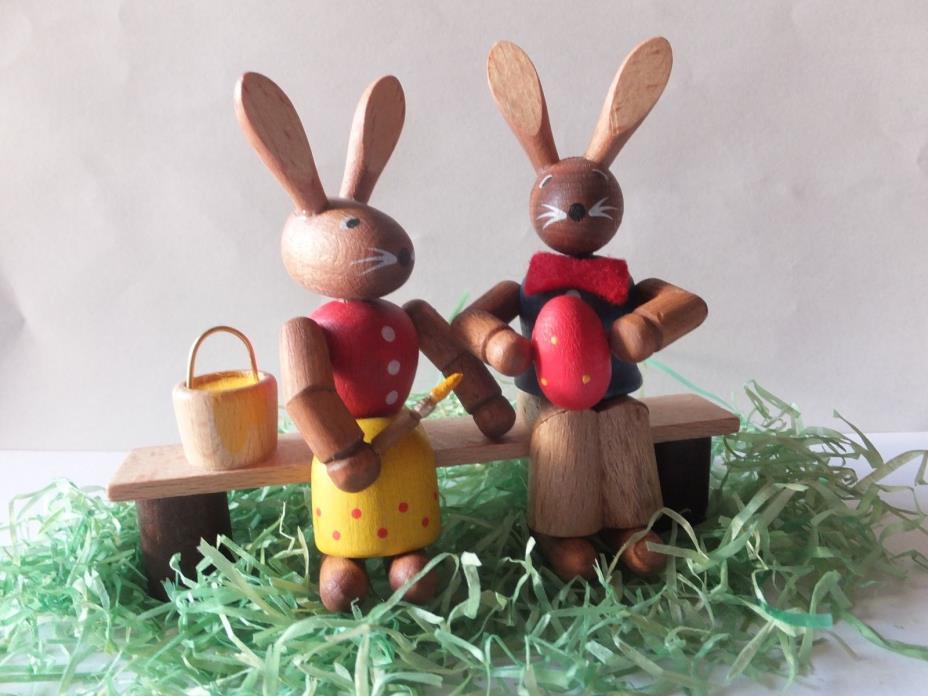 German Erzgebirge  Easter Wooden Figurine - Bunny Rabbit  Couple on Bench