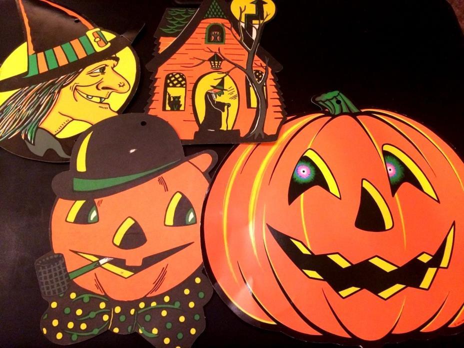 Lot of 4 Vintage Halloween Die Cut Beistle Decorations - Spooky Nice 1960's/70's