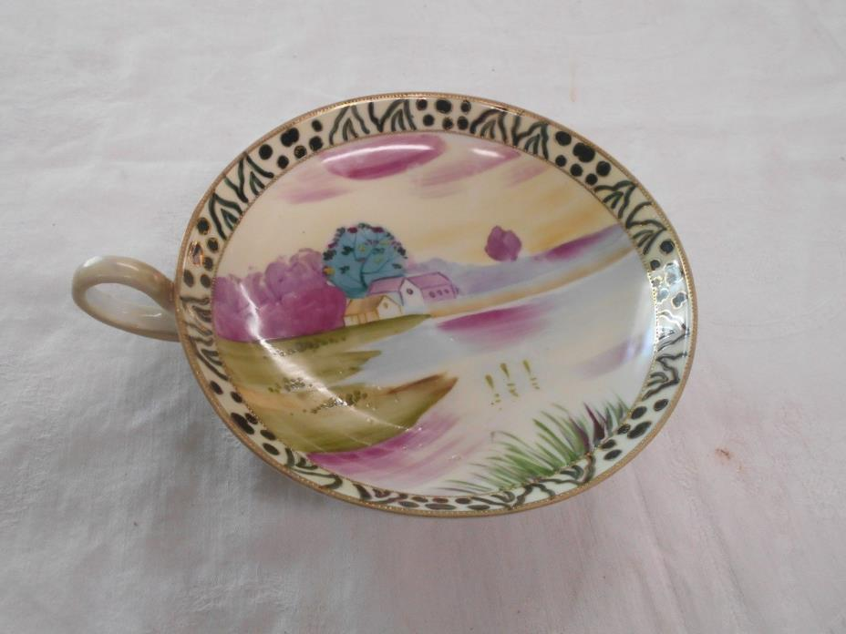 vintage hand painted Nippon round finger hole dish nappy bowl lake cottage scene