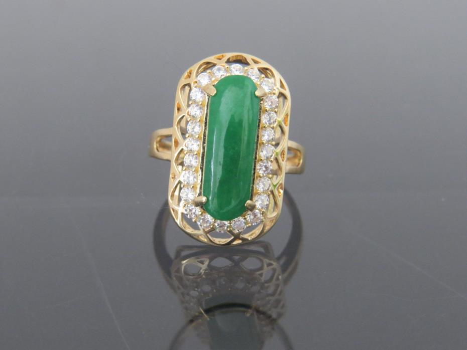 Vintage 18K Solid YGNatural Green Jadeite Jade & White Topaz Saddle Ring Sz 7.25