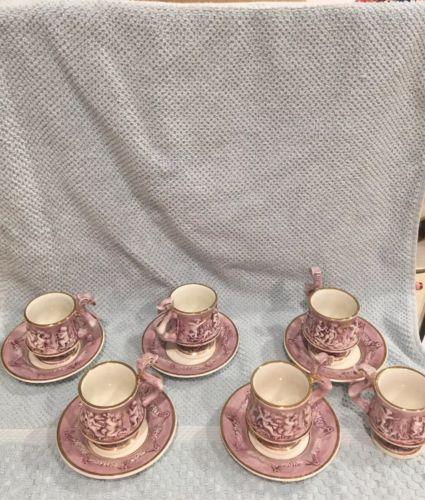 Vintage 1950 R. Capodimonte Italy Tea Cups & Plates