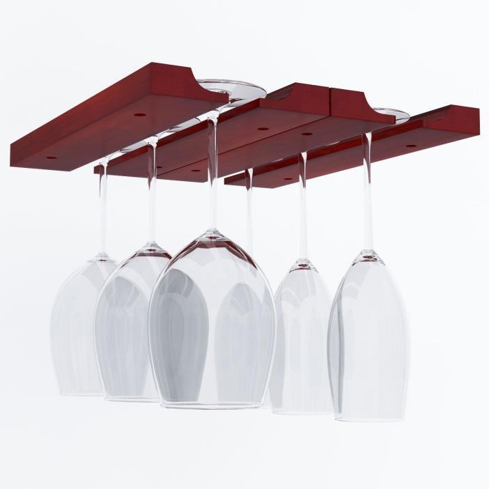 Wine Glass Rack Holder Under Cabinet Stemware Bar Kitchen Adjustable Wood Hanger