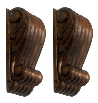 Fine Pair of Wooden Fluted Corbels for Delicate Repurpose
