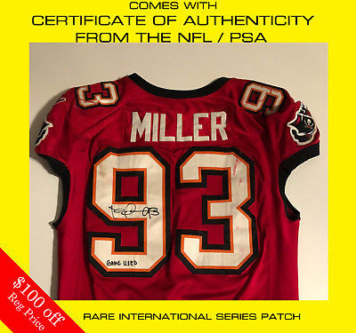 ROY MILLER SIGNED GAME USED TAMPA BAY BUCCANEERS JERSEY NFL COA JAGUARS CHIEFS