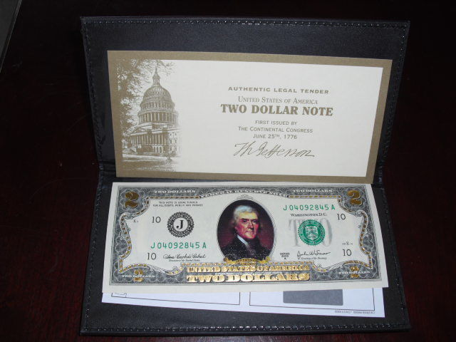 $2 Two Dollar Bill - Colorized Front & Back - Uncirculated Authentic - 24 K Gold
