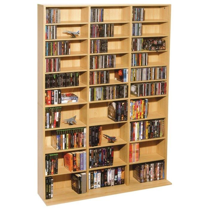 Media Storage Cabinet Multimedia Shelves DVD CDs VHS Tapes Rack Organization