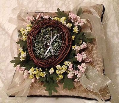 Rustic Ring Pillow,Wedding Pillow,Beige,Ring Holder,All The Best Card Boxes