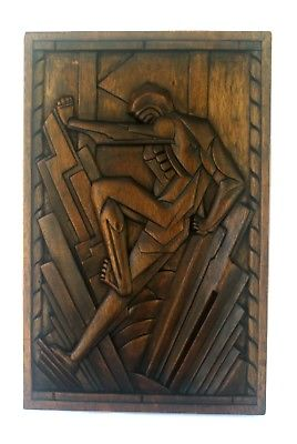 Art Deco Relief Carved Wooden Panel Stylized Figural