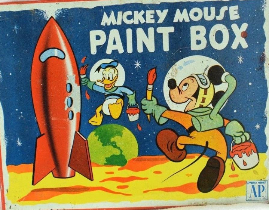 Vintage Tin Mickey Mouse Paint Box Donald Duck Space Atomic Age Walt Disney