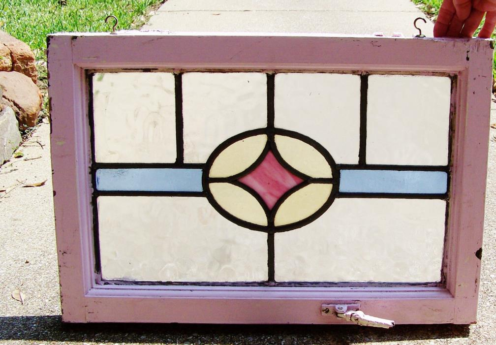 23x15 Old Vtg Art Deco Pink Slag Stained Glass Window Windows Solid Wood Antique