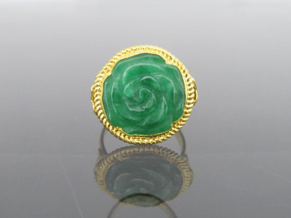 Vintage 24K 980 Solid Gold Natural Green Jadeite Jade Rose Flower Ring Size 5.5