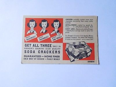 VINTAGE KROGER AD CARDS FOR ICED TEA AND SODA CRACKERS
