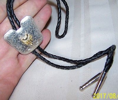 SOUTHWEST SILVER TONE GOLD SADDLE W/ SCROLL DESIGN BOLO TIE