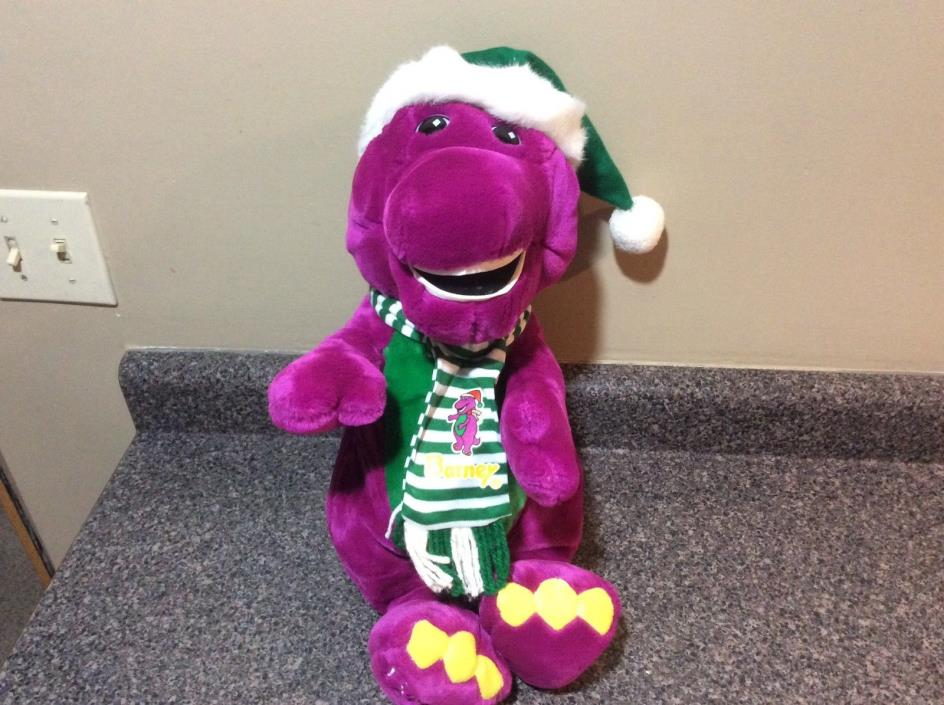 VINTAGE 1992 STUFFED PLUSH CHRISTMAS BARNEY 21