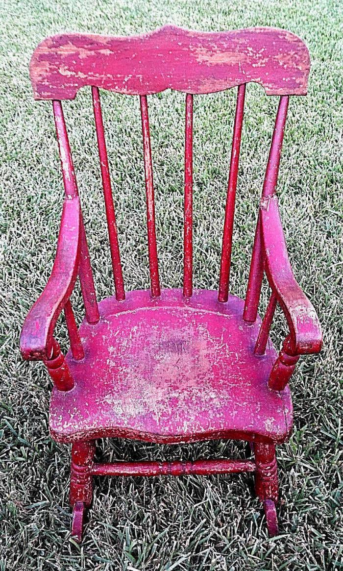 Early Antique New England Child's Boston Rocker Chair Old Red Crackled Paint