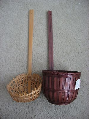 2 Unique Woven Ladles Hang on wall   Decoration or storage Brown & Natural