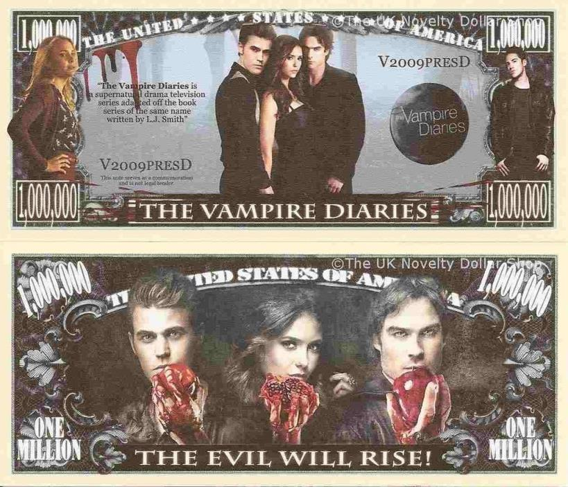 The Vampire Diaries Million Dollar Bill **Novelty Money** FREE Sleeve