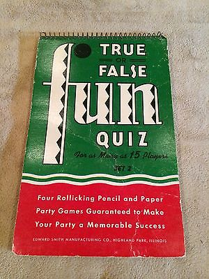 Vintage~TRUE or FALSE~FUN QUIZ~GAME~Up to 15 Players~SMITH~USA~Q & A~RARE!