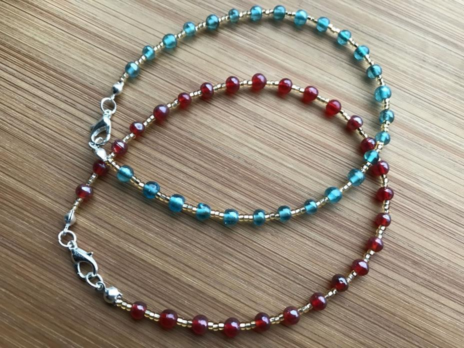 Round Luster Glass & Gold Seed Beads Handmade Anklet Ankle Bracelet Aqua or Red