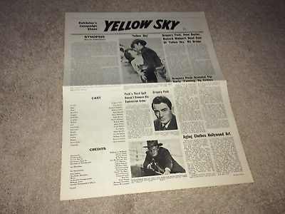 YELLOW SKY Orig Movie Pressbook 1948 Gregory Peck Anne Baxter Western R60s