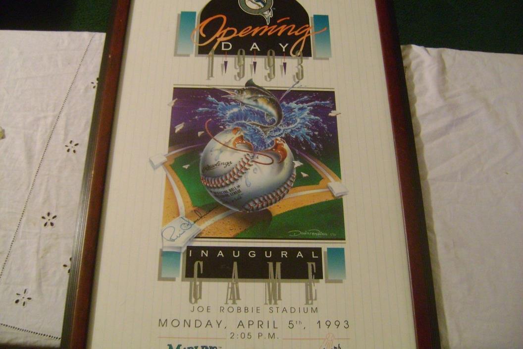Marlins 1993 Openig Day Signed by Rene Lachemann & Denis Pereira-Framed Litho