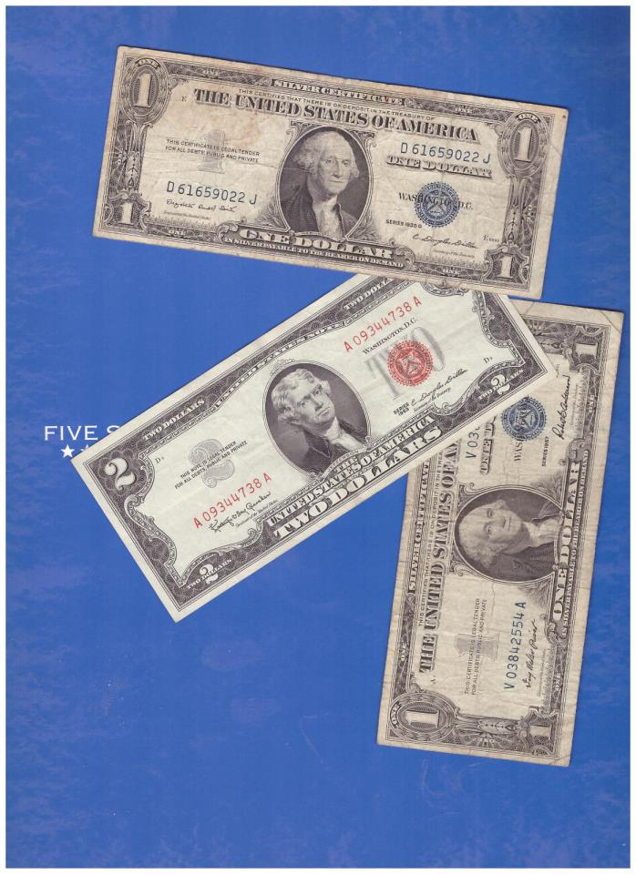 1-1963 2 DOLLAR RED SEAL AND 1-1935 & 1-1957 SILVER CERTIFICATE LOT M425