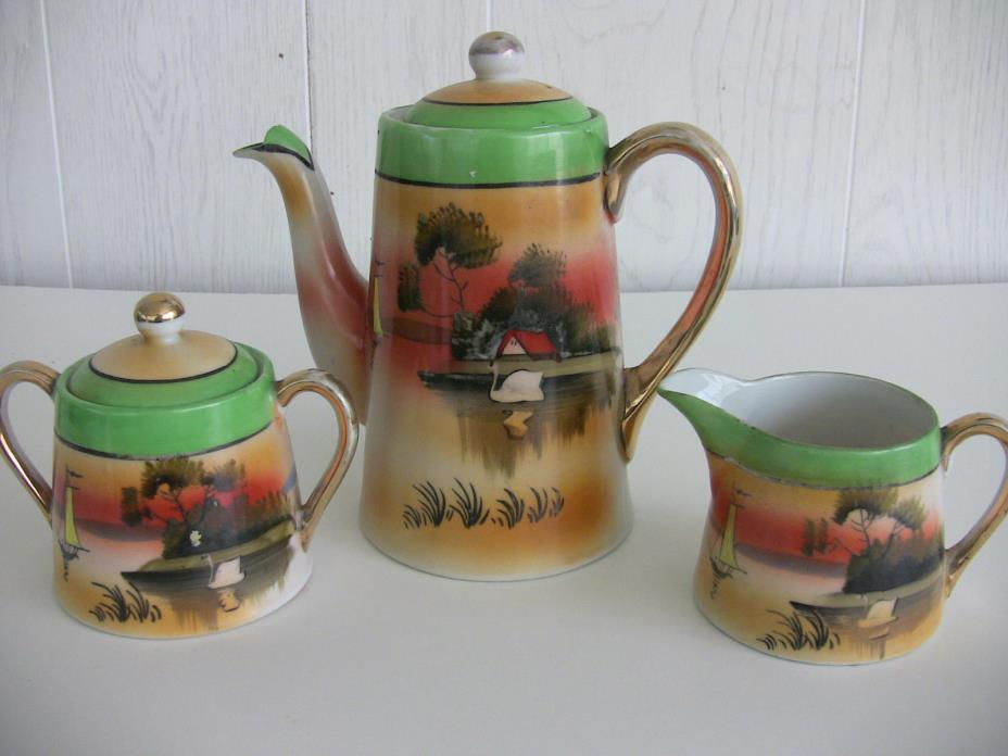 Vintage Takito tea set hand painted with swan 1920's/30's Japan Lustreware