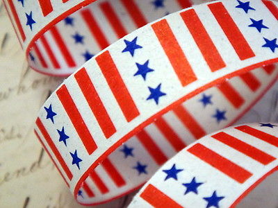 Vintage Patriotic Decoration Paper Ribbon Red White Blue Stars