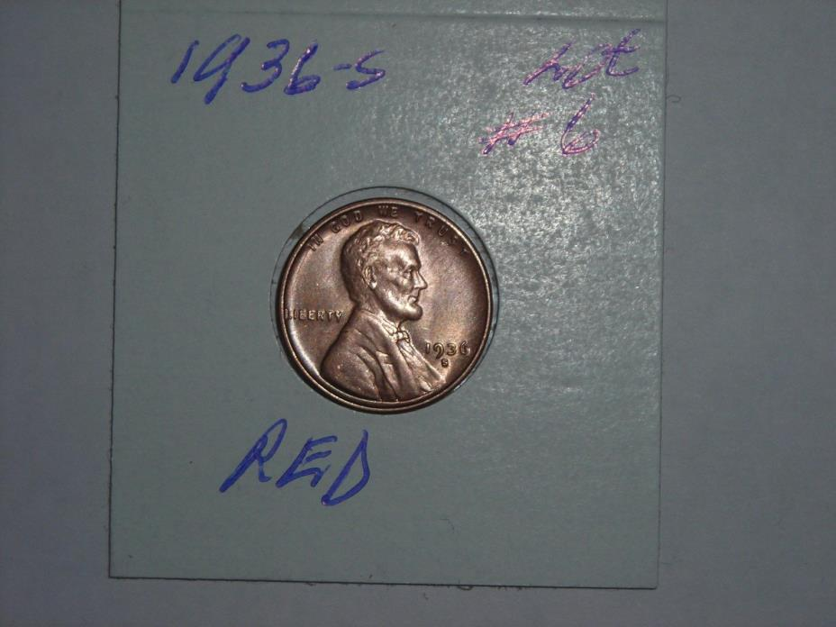 1936-S   Lincoln Cent  - Wheat Penny  -  RED,  LOT #6