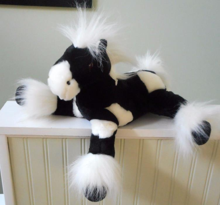 ANIMAL ALLEY Black White Spotted HORSE Plush Stuffed TOYS R US 14