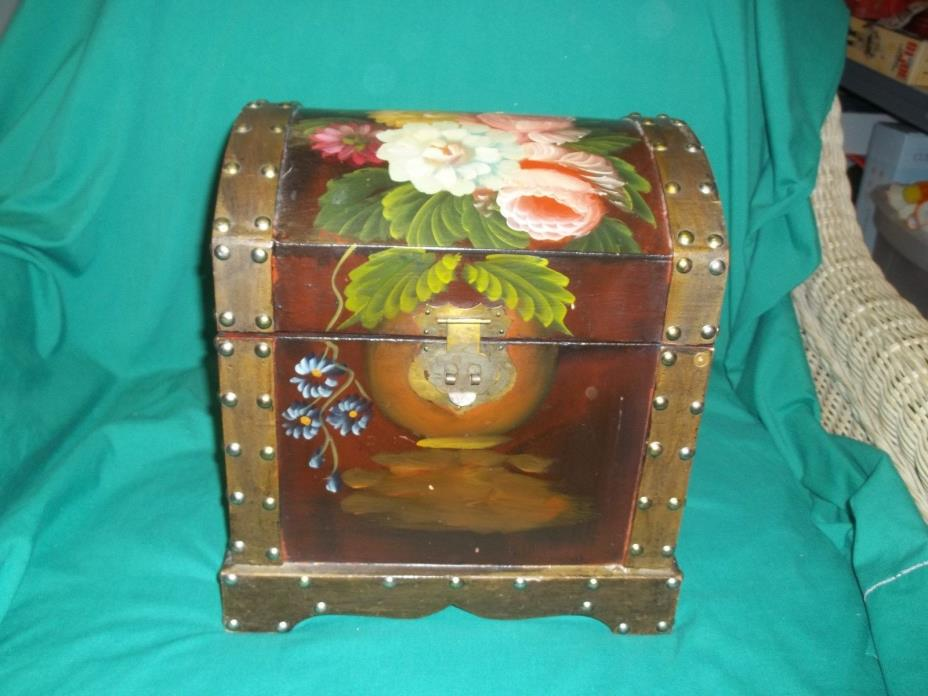Decorative Trunk Chest Flowers Antique Look Studs 12
