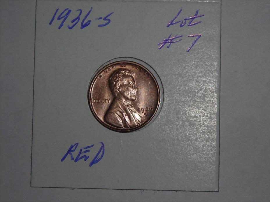 1936-S   Lincoln Cent  - Wheat Penny  -  RED,  LOT #7