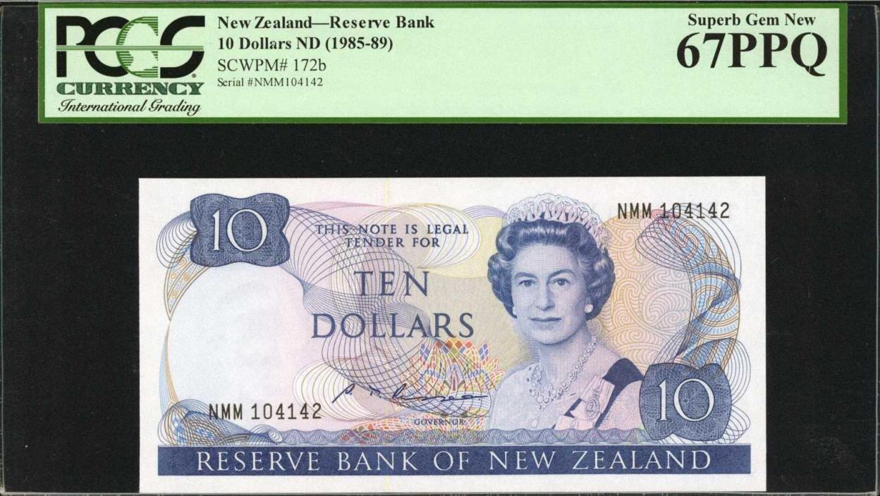 $10 ND (1985-89) New Zealand_Reserve Bank PCGS Superb Gem New 67 PPQ