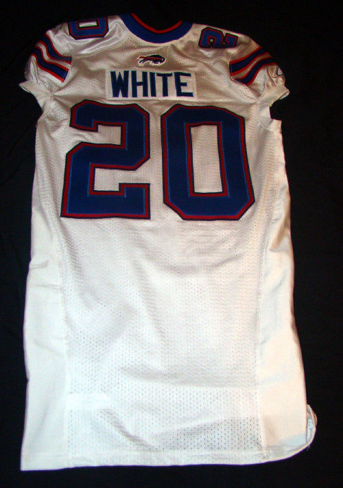 JOHNNY WHITE 20 BUFFALO BILLS GAME USED 2011 REEBOK NFL FOOTBALL JERSEY SIZE 46
