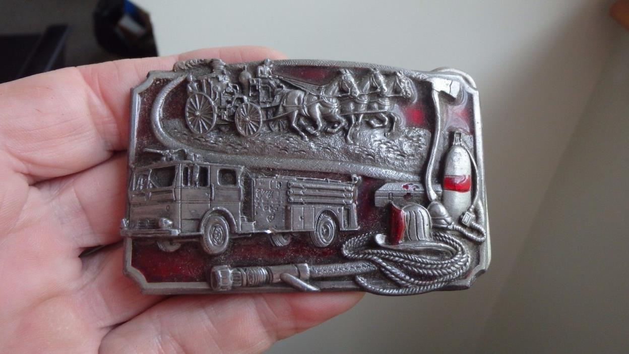 Mens Vintage FIRE DEPARTMENT  FD   BELT BUCKLE EMT BELT STEAM ENGINE FIRE TRUCK